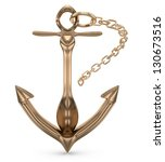 anchor with chain isolated on... | Shutterstock . vector #130673516