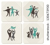 happy family icons set in... | Shutterstock .eps vector #130673930