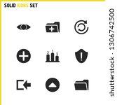 interface icons set with add ...