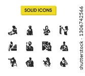 people icons set with soldier ...