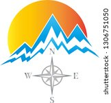 mountains  sun and compass... | Shutterstock .eps vector #1306751050