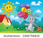 easter bunny with balloons... | Shutterstock .eps vector #1306756810