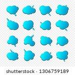 set of blue speech bubbles in... | Shutterstock .eps vector #1306759189