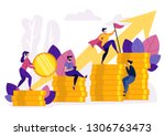 people ascending by coins graph.... | Shutterstock .eps vector #1306763473