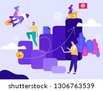 successful business strategy... | Shutterstock .eps vector #1306763539