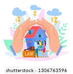 hands shield house and people.... | Shutterstock .eps vector #1306763596
