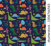 seamless pattern with funny... | Shutterstock .eps vector #1306766563
