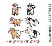 Cute Cow Collection Cartoon...