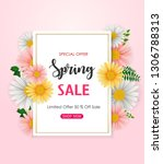 spring sale background with... | Shutterstock .eps vector #1306788313