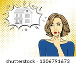 the girl thinks about house or... | Shutterstock .eps vector #1306791673