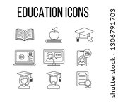 set of education icons  vector... | Shutterstock .eps vector #1306791703