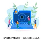 computer vision  face... | Shutterstock .eps vector #1306810666