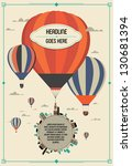 vintage hot air balloon in the sky vector/illustration /background/greeting card/
