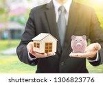 pink piggy ceramic bank and...   Shutterstock . vector #1306823776