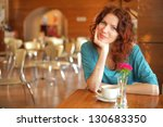 pretty young redhead woman with ... | Shutterstock . vector #130683350