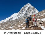 group of trekkers coming up to... | Shutterstock . vector #1306833826