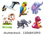 Stock vector funny animals d vector icon set stork parrot elephant cow cat dragon 1306841893