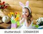 Happy Easter Bunny Girl With...