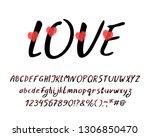romantic italic alphabet with... | Shutterstock .eps vector #1306850470