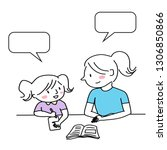 mother helping child with... | Shutterstock .eps vector #1306850866