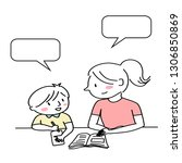 mother helping child with... | Shutterstock .eps vector #1306850869
