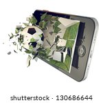 a soccer ball on cell phone.... | Shutterstock . vector #130686644