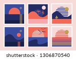 set of retro illustrations with ... | Shutterstock .eps vector #1306870540