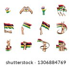 mauritius flag and hand on... | Shutterstock .eps vector #1306884769