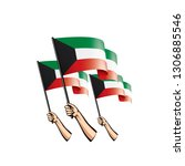 kuwait flag and hand on white... | Shutterstock .eps vector #1306885546