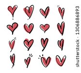 heart doodle icons  hand drawn... | Shutterstock .eps vector #1306886893
