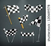 checkered flags  vector set | Shutterstock .eps vector #130689578