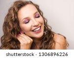 portrait beautiful young blonde ...   Shutterstock . vector #1306896226