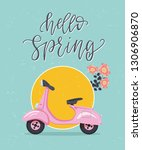 hello spring hand drawn quote.... | Shutterstock .eps vector #1306906870