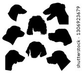 silhouettes of hunting dogs... | Shutterstock .eps vector #1306923679