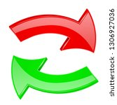 red and green arrows. set of 3d ... | Shutterstock .eps vector #1306927036