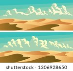 set of horizontal banners sandy ... | Shutterstock .eps vector #1306928650