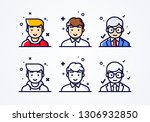 vector linear flat people faces ...   Shutterstock .eps vector #1306932850