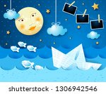 surreal seascape with full moon ... | Shutterstock .eps vector #1306942546