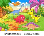 Cute Dinosaurs In Prehistoric...