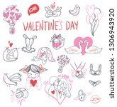 collection of hand drawn... | Shutterstock .eps vector #1306943920