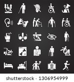 disability icons set on black... | Shutterstock .eps vector #1306954999