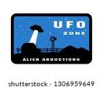 ufo zone badges and logo emblem. | Shutterstock . vector #1306959649