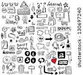 big set internet doodles | Shutterstock . vector #130697240