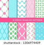 ten spring seamless patterns.... | Shutterstock .eps vector #1306974409