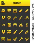 cutter icon set. 26 filled... | Shutterstock .eps vector #1306992196