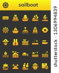 sailboat icon set. 26 filled...   Shutterstock .eps vector #1306994839
