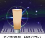 beige cosmetic tube in radiance.... | Shutterstock .eps vector #1306999579