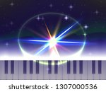 piano keys on a starry sky... | Shutterstock .eps vector #1307000536