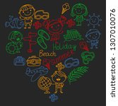 vector pattern with children... | Shutterstock .eps vector #1307010076