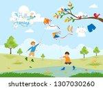 Cute Cartoon Of Two Boys Flyin...